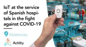 "Image banner saying ""IoT at the service of Spanish hospital during Covid-19"" with connected hospital beds and Abbeway micro tracker"