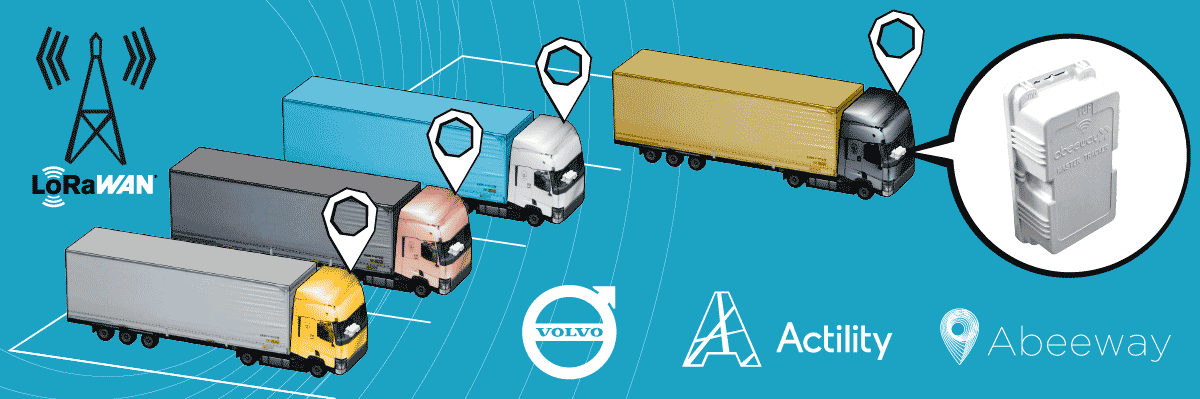 Image of volvo trucks and geolocation trackers